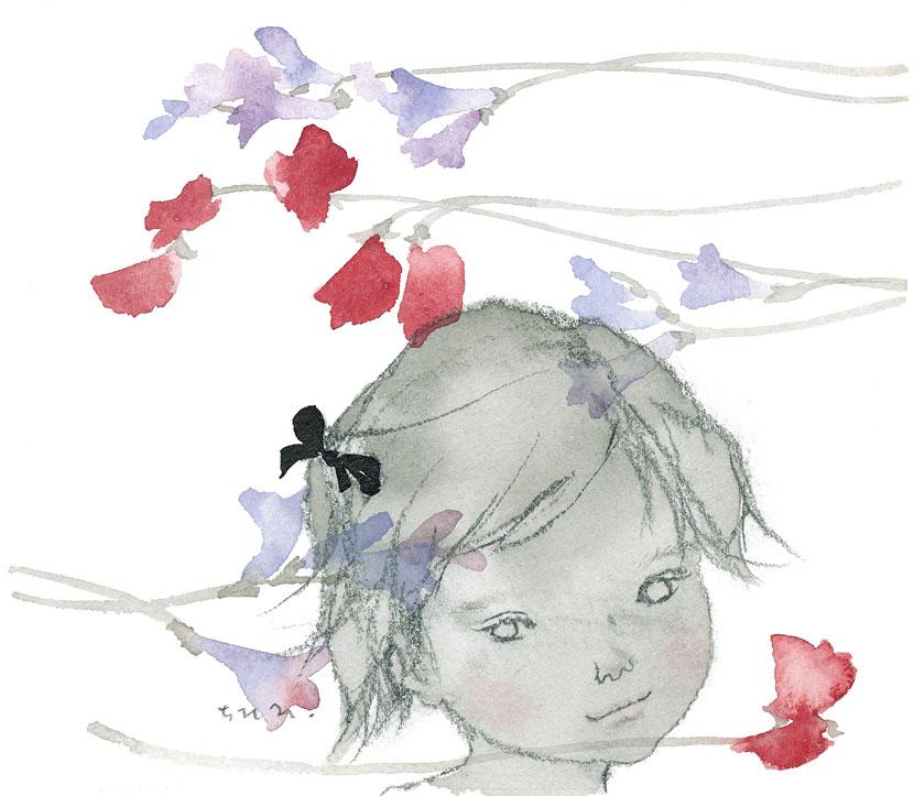 岩崎知弘《香豌豆与小苍兰与少女》1963年
