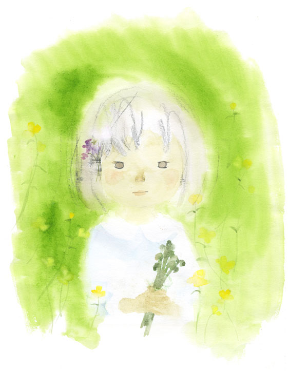 岩崎知弘《拿蕨草的少女》(摘自《红豆饭岭》童心社)1972年