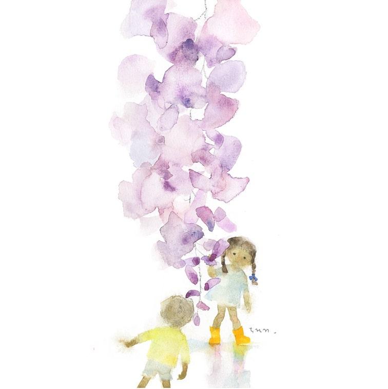 岩崎知弘《紫藤花与孩子》1970年