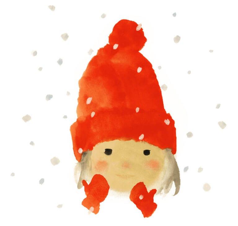 岩崎知弘 《红毛线帽的女孩》摘自《生日那天下雪啦》(至光社)1972年