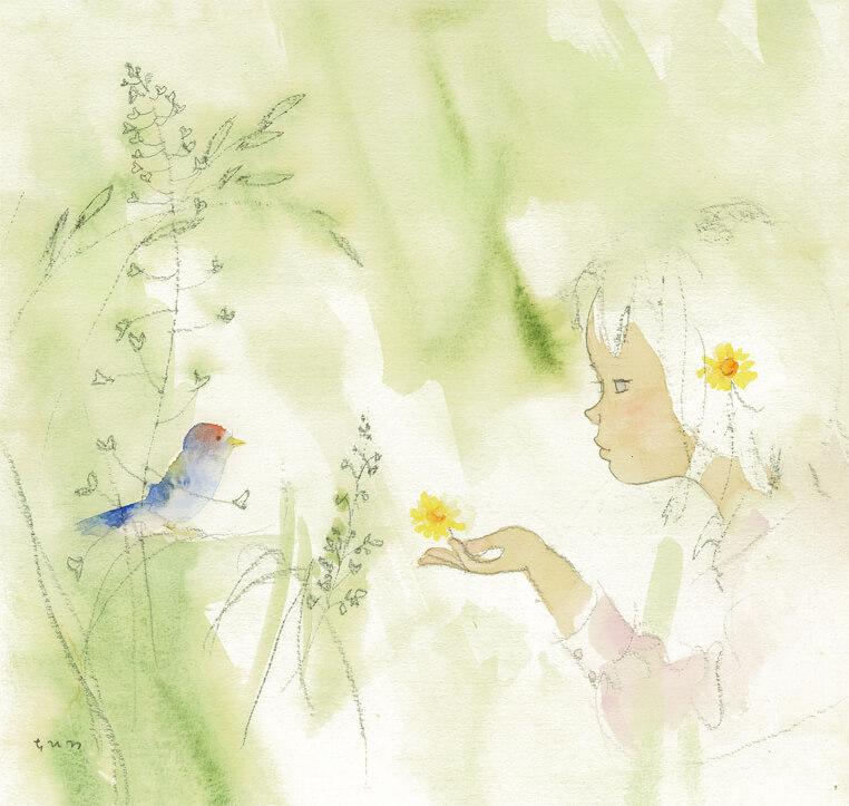 Chihiro Iwasaki, Girl and Bird in Grass, 1971