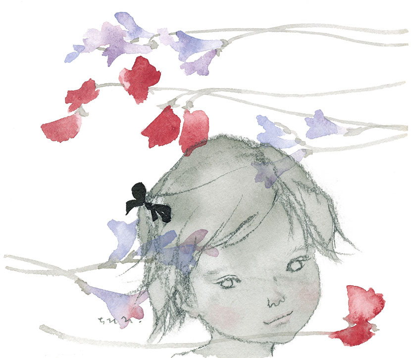 Тихиро Ивасаки. «Девочка среди душистого горошка и фрезий», 1963 год