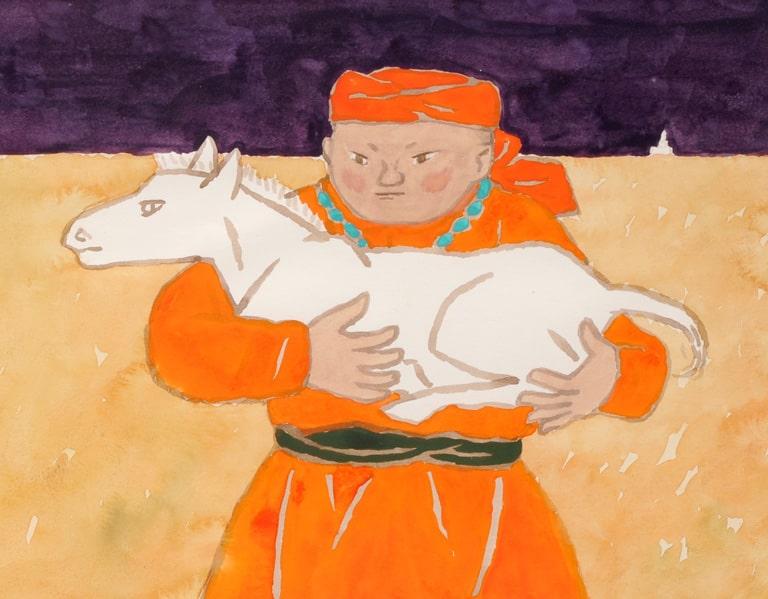Суэкити Акаба. «Белый конь Сухо» (Изд-во Фукуинкан), обложка, 1967 год