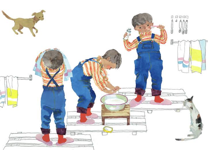 Тихиро Ивасаки. «Мальчики умываются», 1956 год