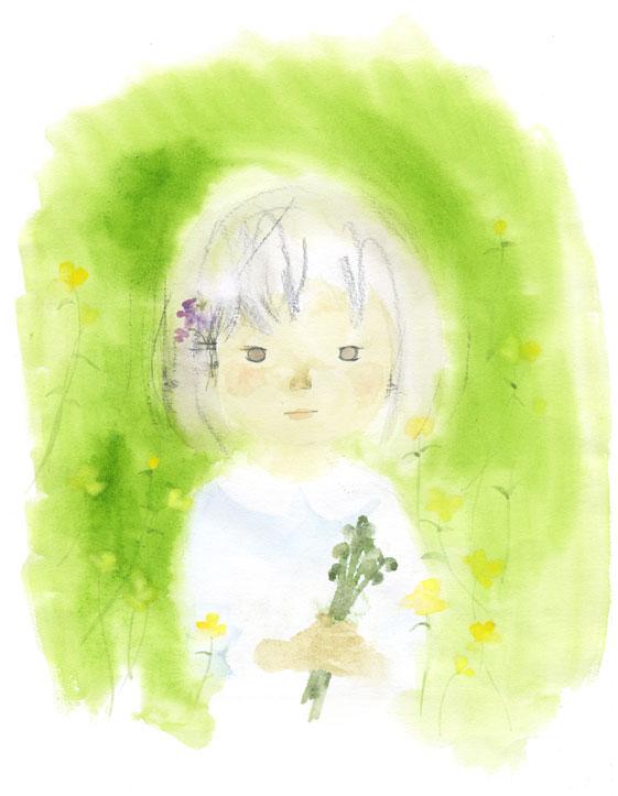 岩崎知弘 拿著蕨草的少女『阿卡曼圖格』(童心社) 1972年出版
