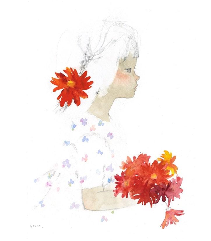岩崎知弘 手持非洲菊的少女 1970年左右