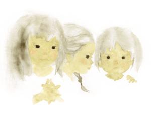 いわさきちひろ 三人姉妹 1972年
