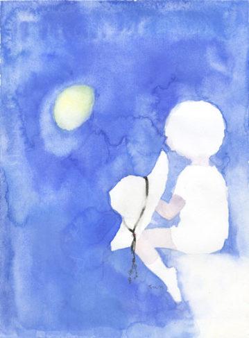 月を見る少年