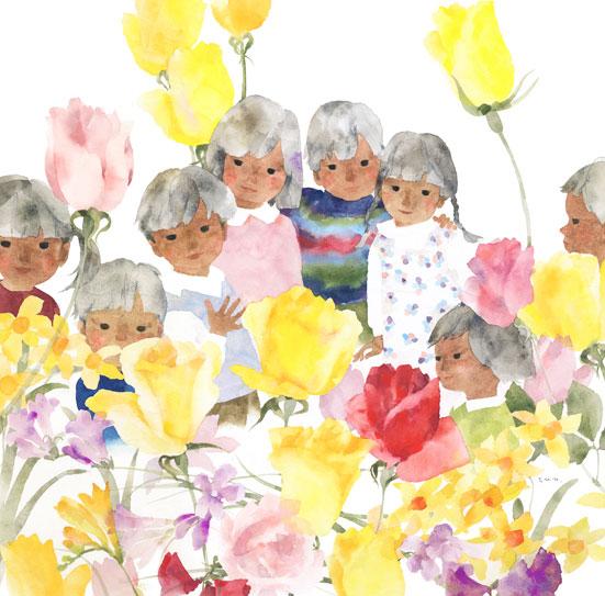 いわさきちひろ春の花と子どもたち
