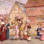 花束を運ぶ子どもたち