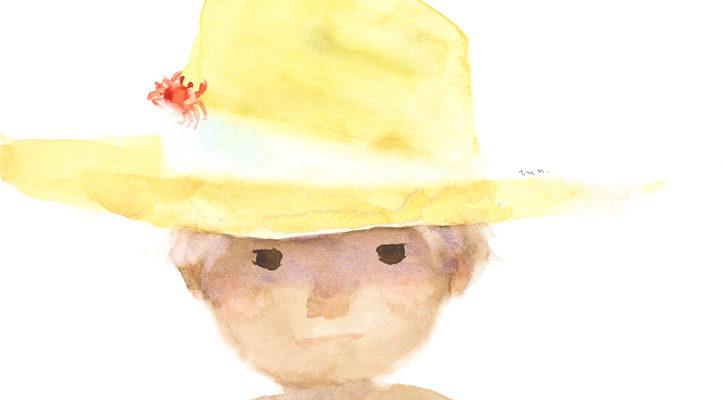 いわさきちひろ 麦わら帽子にかにをのせた少年 1971年