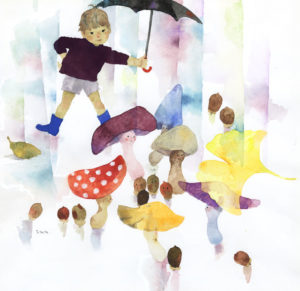 いわさきちひろ きのこと傘をさした少年 1966年